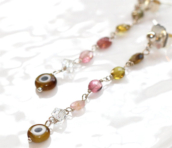 Luxe Evil Eye Tourmaline Pink Green Amber Faceted Oval Dangle Silver Earrings