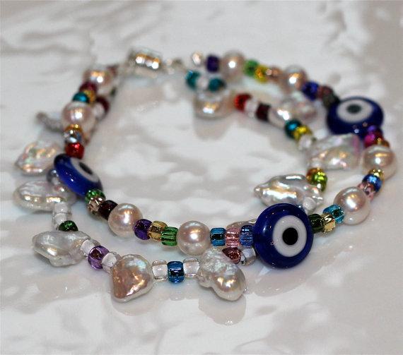 Pearly Evil Eye Multicolor Multistrand Millefiori Pearl Silver Charm Sparkle Bangle