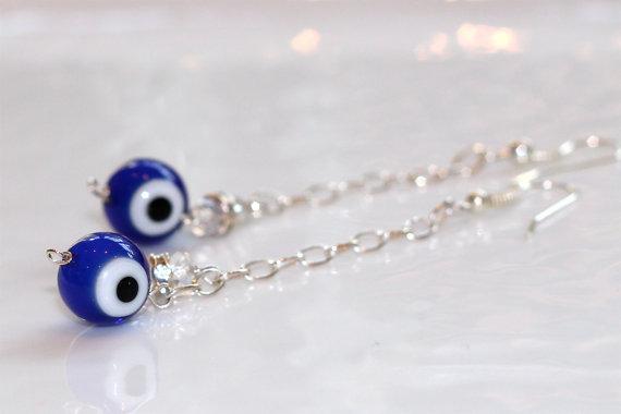 Ol' Blue Evil Eye Sparkle Silver Crystal Chain Dangle Earrings