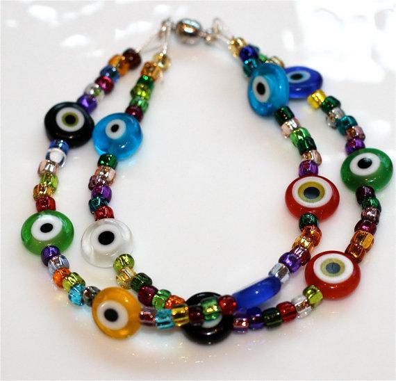 Rainbow Millefiori Multicolored Evil Eye Foil Beads Multistrand Bracelet