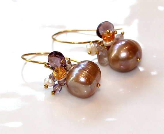 Go Eagles:) Purple Amethyst Freshwater Pearl Gold Vermeil Mandarin Garnet Dangles