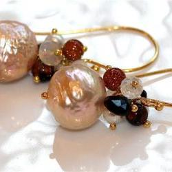 Gorgeous Kasumi Style Pearl and Gemstone Ethiopian Opal Firestone Tourmaline Dangle Gold VermeilEarringss