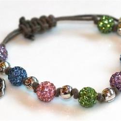 Khaki Cord Sparkle Evil Eye and Skull Skeleton Charms Bracelet Pink Green Blue Pave Rhinestone