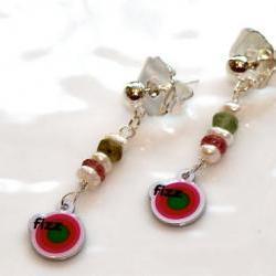 Bring on the Fizz Candy Logo Charm Pearl Tourmaline Dangle Earrings