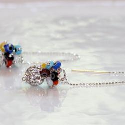 I Am Sparkling and Giving You The Evil Eye Pave Rhinestone Rainbow Tiny Millefiori Dangle Silver Ear Thread Earrings