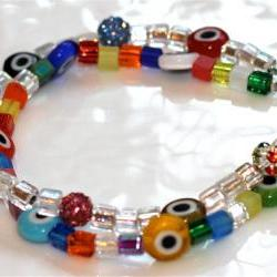 Multicolored Evil Eye and Sparkle Bracelet Millefiori Charm Sparkle Multistrand Bangle