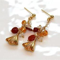 Honeybee Mexican Fire Opal Mandarin Garnet Orange Keshi Pearl White Topaz Gold Vermeil Chain Dangle Earrings