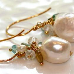 Foamy Aqua Sea Green Apatite Foresty Yellow Blue Tourmaline White Topaz Gold Vermeil Freshwater Pearl Dangle Earrings