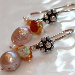 Shimmery Freshwater Creamy Pearl and Fiery Mexican Ethiopian Opal Mandarin Garnet Orange Bali Silver Dangle Earrings