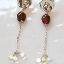 Watermelon Tourmaline Oval Yellow Citrine Crystal Briolette Silver Chain Dangle Earrings Jewelry