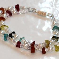 Rainbow Tourmaline Nugget and Pearl Iridescent Crystal Beaded Bracelet
