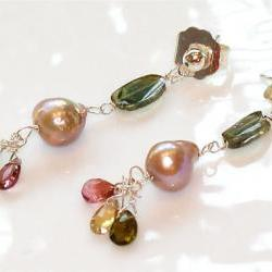 Blush Freshwater Nucleated Flameball Pearl Silver Dangle Earrings with Green Yellow Pink Tourmaline Briolettes
